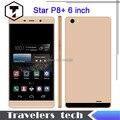 Estrella P8 + Dual Core Mobile Phone 6 pulgadas 3 G WCDMA gran pantalla táctil Android 4.4 MTK6572 Smartphone 5.0MP 2.5D pantalla curvada 3200 mAh