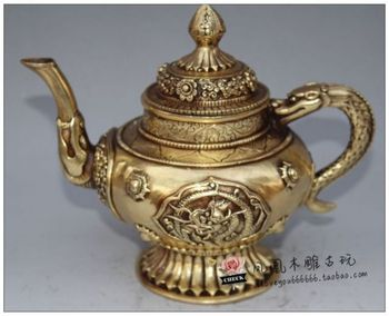 Chinese Antique collection copper Flagon