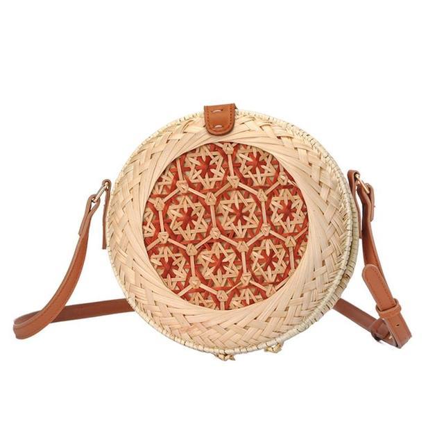Woven Rattan Bag Round Straw Shoulder Leather Straps Small Beach HandBags Women Summer Handmade Messenger Picnic Bag