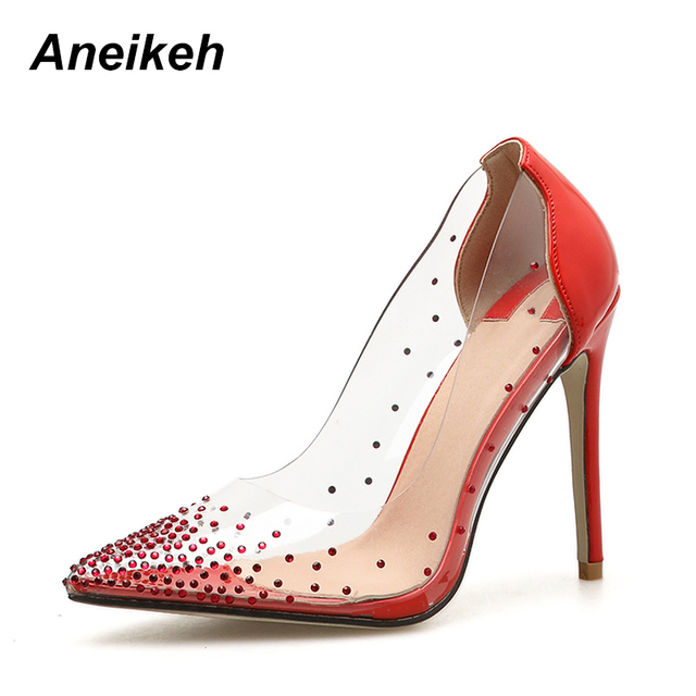 2ea69489180 Aneikeh New Sexy Stiletto Crystal Pumps Ladies Party Dress Shoes Clear PVC  High Heels Rhinestone Studs Pointed Toe Bridal Shoes