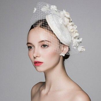 Korean Style Cotton Gauze Hat Headdress Flower Female MA Sen Wedding Wedding Pictures Distribution Cap Using 0410-05