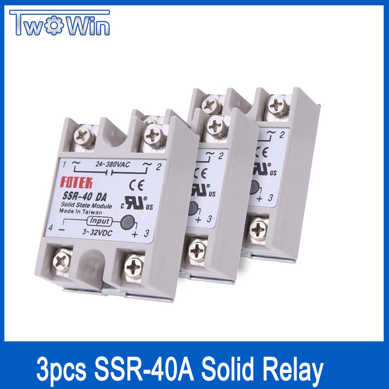 3PCS solid state relay dc 40 ssr 40a solid state relay single-phase input 3-32V DC output 24-380V AC