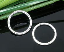 Doreenbeads liga de zinco metal fechado soldada salto anéis redondo antigo prata cor 16mm (5/8