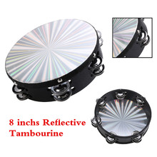 8'' Musical Tambourine Reflective Percussion Wood Frame Double Row Metal Jingle Church Band Musical Instruments Gifts For Party цены