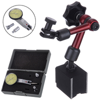 1pc Flexible Magnetic Base Holder + Scale Precision Dial Test Indicator Gauge + 3/8/5/32 Dovetail Clamp with Molded Case