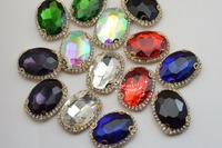 10 Pcs Costume Dress Oval Color Rhinestone Applique Sewing On Button For Glass Beads Of 20x30mm
