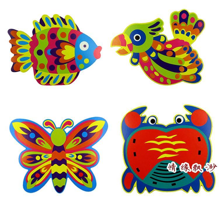 4pcs children cartoon 3d sticker drawings kids handmade diy stickers for kindergarten art craft educational