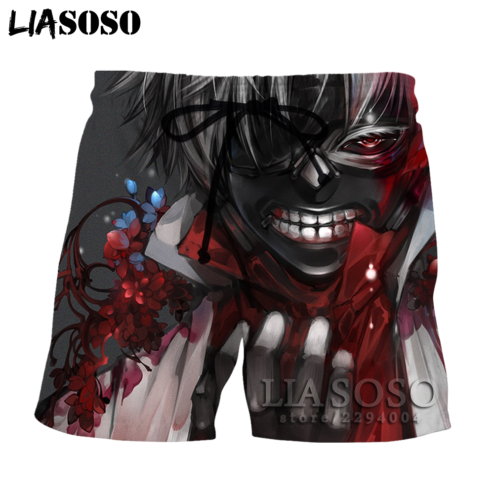 Men's Clothing Liasoso Harajuku Tee In Mens/women Shorts Anime Tokyo Ghoul Short Beach Print Boardshorts Trousers 3d To12 To Clear Out Annoyance And Quench Thirst