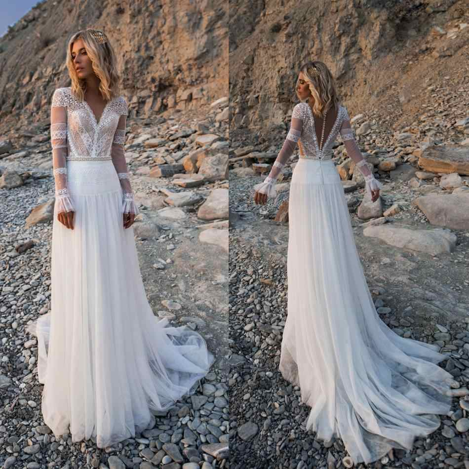 2019 Bohemian Wedding Dresses V Neck Long Sleeves Lace Appliques Bridal Gowns Beach A Line Wedding Dress Robe De Mariee