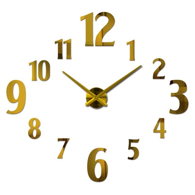 new sale design large 3d wall clock acrylic mirror quartz watch clocks home decoration Single Face living room stickers