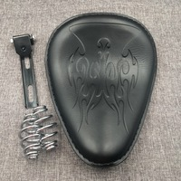 Black Motorcycle Leather Solo Seat Cover 3 Spring Swivel Bracket For Harley Chopper Bobber Honda Custom