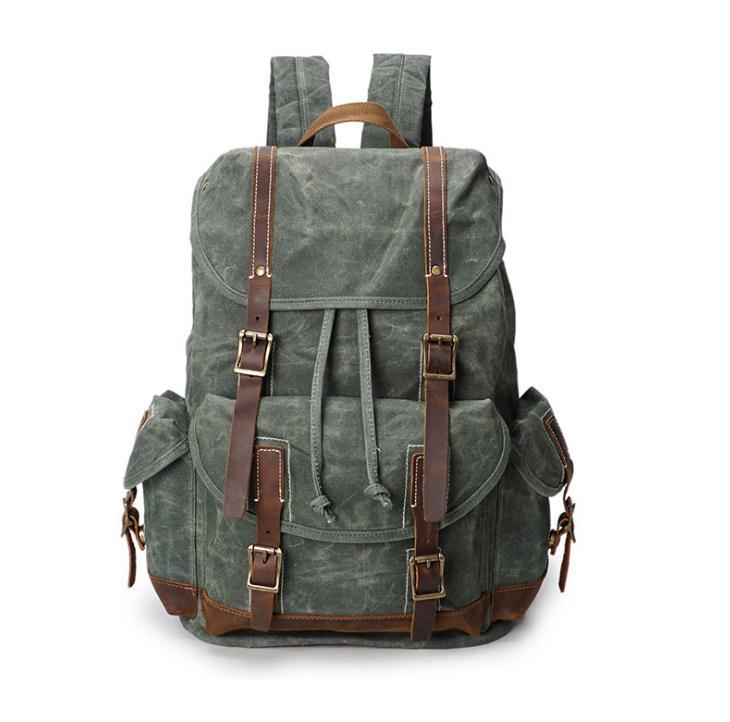 배낭, 미친 말 가죽 가방, 빈티지 여행 캔버스 가방, 방수 배낭 pinepoxp 가방-에서백팩부터 수화물 & 가방 의  그룹 1