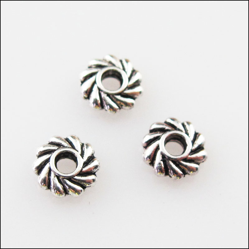 Free Ship 100Pcs Tibetan Silver Flower Spacer Beads For Jewelry Making 5x7mm