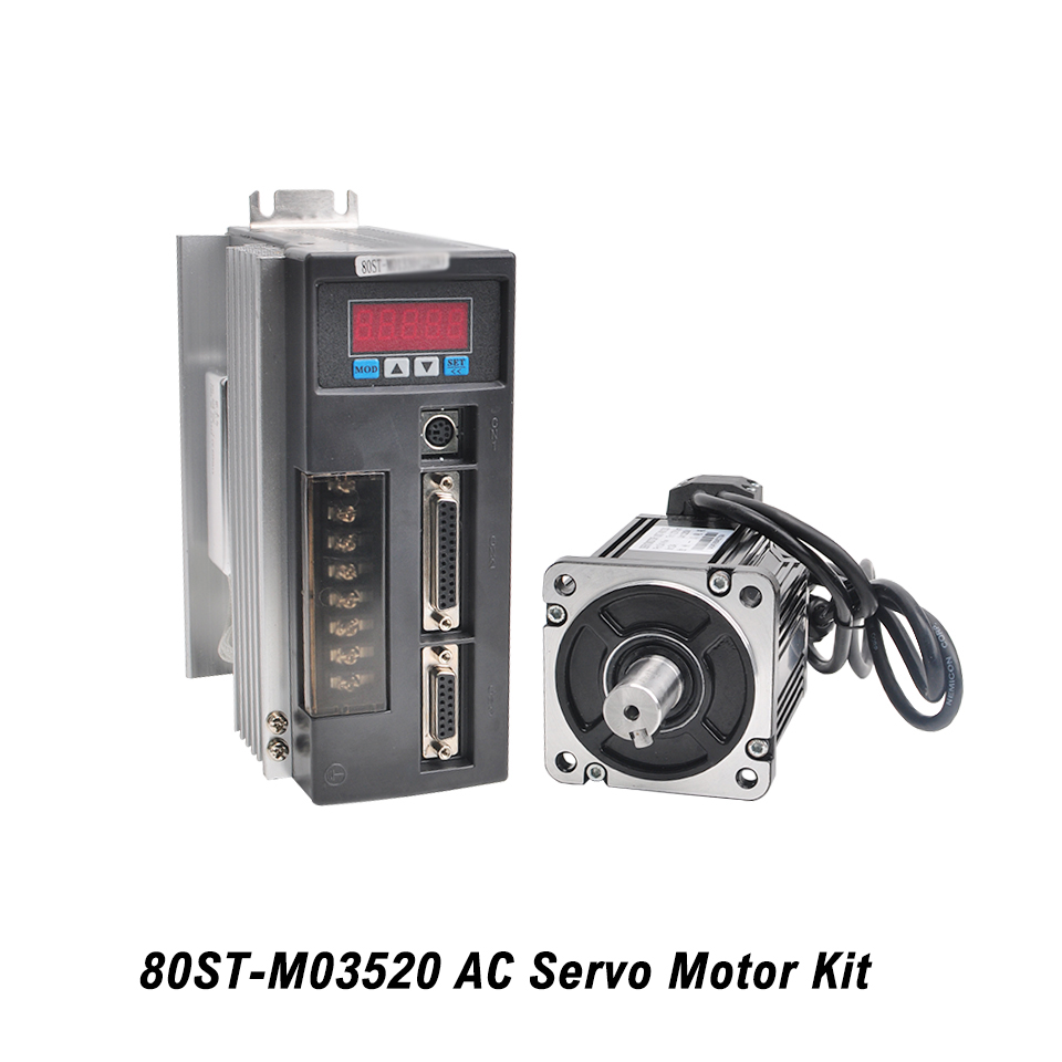 80ST-M03520 AC Kit de servomoteur 0.73KW 220 V servomoteur moteur monophasé avec entraînement assorti câble encodeur 3 M pour CNC