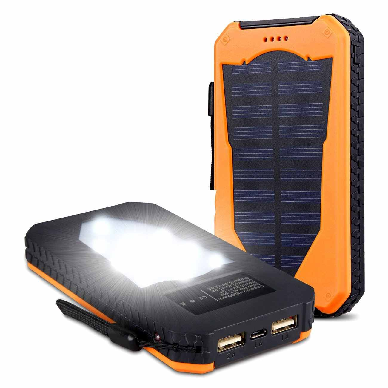 Solar Mobile Power Camping Light Ultra-thin Solar Charging Po 8000/10000 Ma Led Flashlight