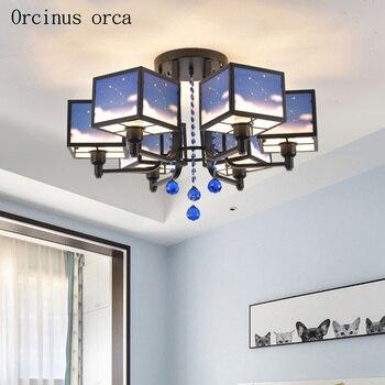 Мультяшный креативный потолочный светильник с изображением ночного неба и звезд, потолочный светильник для мальчика, спальни, детской комн...
