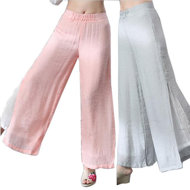 Long Linen Pants Women Summer 2016 Ethnic Wide Leg Pants Thin Loose Straight Trousers Elastic Waist Dress Pants Dance Pants