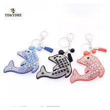 YD&YDBZ Cute Little Dolphin Key Chains Classic Fashion Rhinestone Animal Pattern Chain Womens Dedicated Jewelry