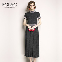 FGLAC Women knitted dress Elegant Slim short sleeved Vintage summer dress Elegant Slim striped dress