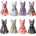 Женщины Vestidos Бальные Платья Sexy Summer Beach Цветочные Танк Mini Dress Sexy Шифон Рукавов Сарафан Большой Размер Dress Красоты