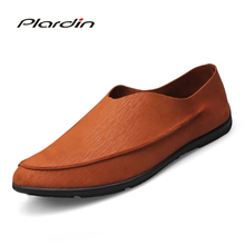 Plardin 2018 Four seasons Fashion Plus Size Man Sewing Comfortable Breathable Dress Concise Microfiber sailboat shoes