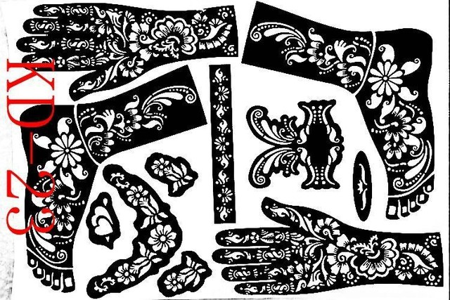 1sheet KD23 Tattoo Templates Hands Feet Henna Stencils Airbrushing Professional Mehndi New Body Painting