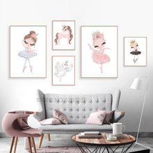 Ballet Princess Nursery Nordic Poster Unicorn Wall Art Canvas Painting Swan Wall Pictures For Children Room Kid Cuadros Unframed(China)