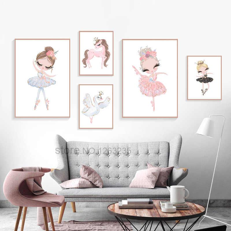 Балетные костюмы Принцесса Детская Nordic плакат Единорог стены книги по искусству холст картины Лебедь настенные панно для детской комнаты