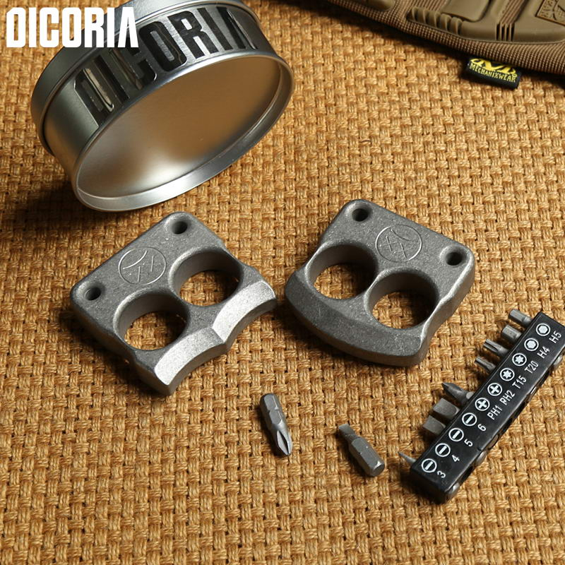 DICORIA DFK double finger Combination Hand Tools sets TC4 Titanium outdoor pocket Multi function Screwdrivers Sockets EDC gear tri fidget hand spinner triangle metal finger focus toy adhd autism kids adult toys finger spinner toys gags