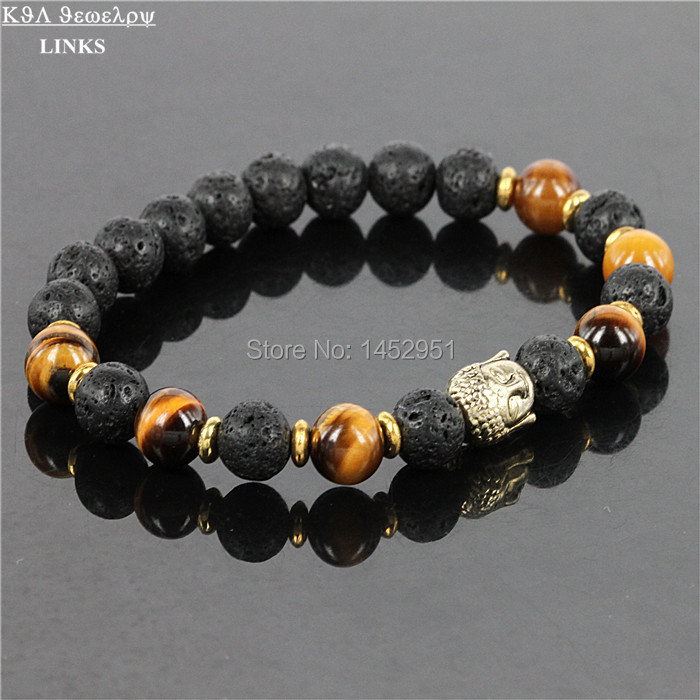 Hot Sale font b Jewelry b font Black Lava Energy Stone Beads And Tiger Eye Nature