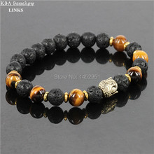 Hot Sale Jewelry Black Lava Energy Stone Beads And Tiger Eye Nature Beads Gold Buddha Bracelets  for Men's and Women's GIft