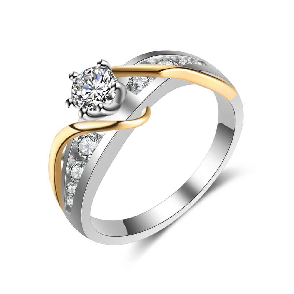 It is an image of Fashion 48 Tone Ladies Wedding Ring Classic Engagement Rings For Women Clear CZ Stone Cubic Zirconia Love Gift Gold Color Jewelry