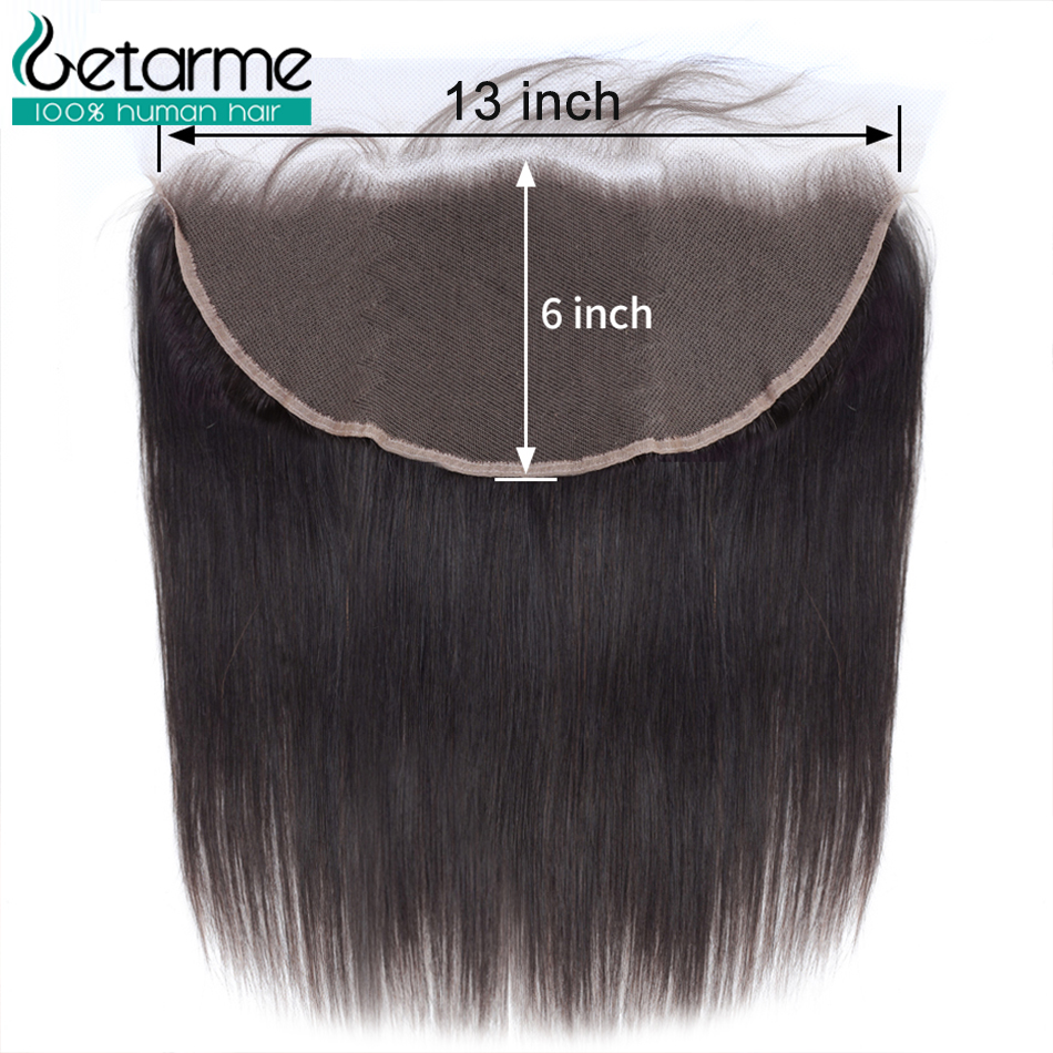Getarme Brazilian Remy Hair Straight 13x6 Lace Frontal With Baby Hair Ear To Ear Lace Frontal Closure 100% Human Hair Extensions