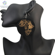 SOMESOOR Afrocentric Ethnic Engraved Wooden Drop Earrings African Lion Map Style Personalized Handmade Jewelry For Women Gifts