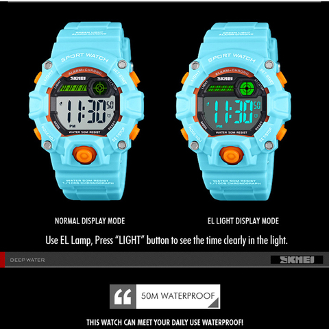 Fashion Kids Watches 50 Meters Waterproof  Plastic Shell Led Digital Girls And Boys Watch For Children Student Clock SKMEI 2018 Islamabad