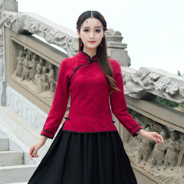 US $16.09 30% di SCONTO|KYQIAO Online negozio 2018 donna autunno inverno  elegante vintage etnico Cinese mandarino colletto a maniche lunghe  camicetta ...