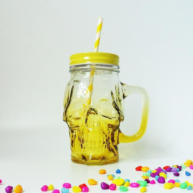 Cristal cráneo diseño 16 oz con mango botella