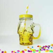 GLASS SKULL DESIGN 16OZ WITH HANDLE BOTTLE cheap Multi-Color ROUND Stocked Eco-Friendly