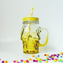 GLASS SKULL DESIGN 16OZ WITH HANDLE BOTTLE(China)