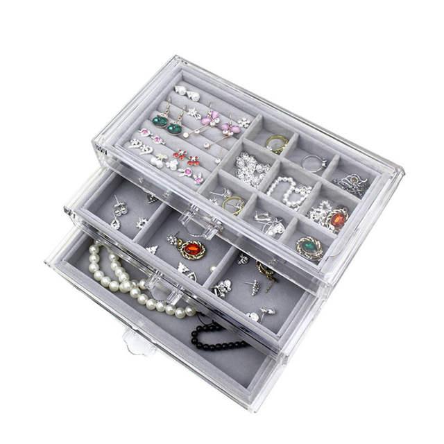 3a618bfaeda3 Fashion Acrylic Jewelry Storage Box Makeup Organizer Ring Earring Case  Women Necklace Pendants Tray Jewelry Display Organizer