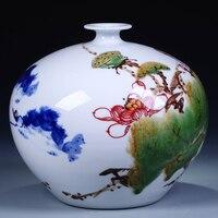 Jingdezhen ceramika nowoczesny mody ręcznie malowane niebieski i biały wazon kwiat dekoracji ofiara ozdoba pokoju