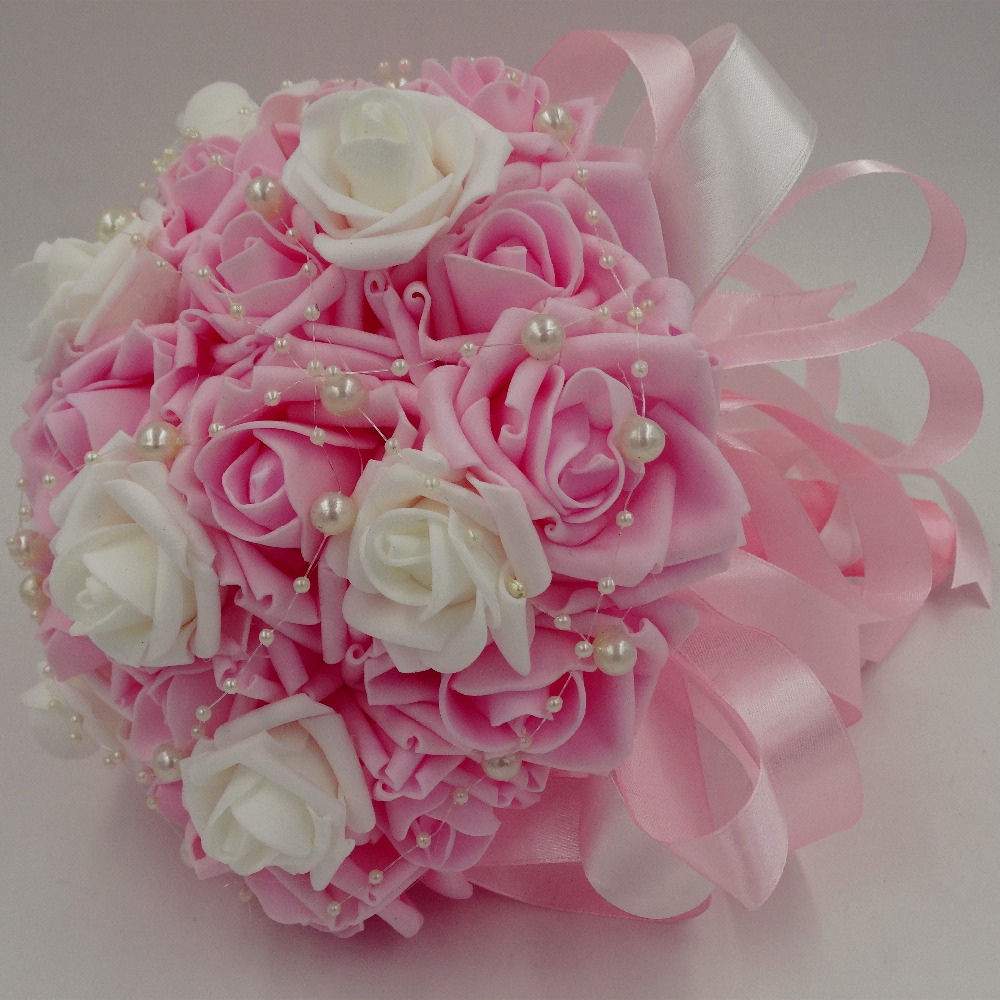 Cheap foam rose pink artificial wedding accessories bridesmaid cheap foam rose pink artificial wedding accessories bridesmaid beaded pearl bridal bouquet white crysta wedding hand bouquet in artificial dried flowers izmirmasajfo