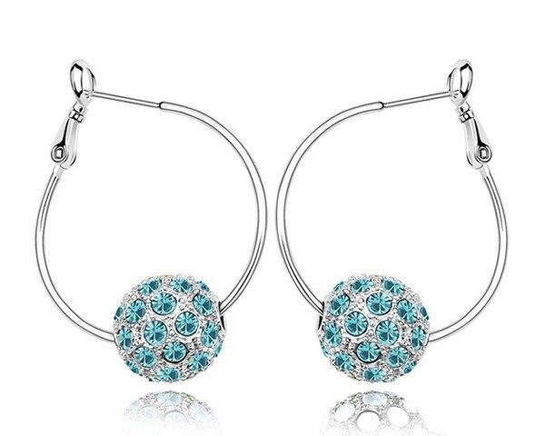 Blue Austrian Crystal Big Hoop Earrings Disco Ball Style Bar Jewelry Hoop Earrings Hot Sale Daughter Birthday Gifts Bijoux Gifts