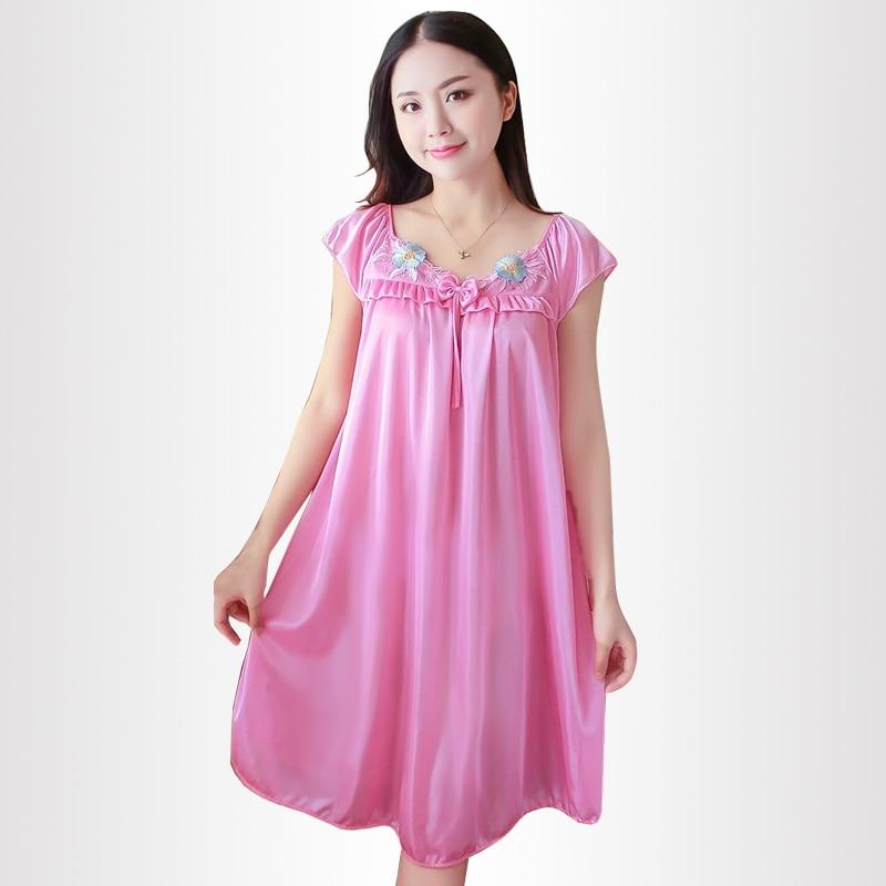 da5bde1dc9 Ice Silk Nightdress Women Sleeveless Nightgowns Lace Sexy Sleepwear  Sleeping Dress Nightgowns Summer loose Night Dress 2018