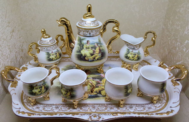 High Grade 8 Continental Coffee Set Uk Gilt Ceramic Tea Sets Luxury Gift