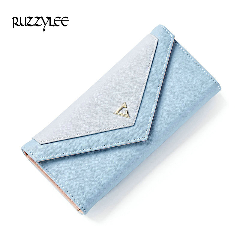 New Fashion Envelope Women Wallet 3 Fold Female  PU Leather Wallet Lady Long Purse Coin Pocket Card Holder Portefeuille Femme  new arrive 1pc women lady faux leather clutch envelope wallet long card holder purse hollow hot