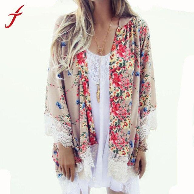 Feitong Vintage chemisier en mousseline de soie femmes Kimono Cardigan imprimé à franges ourlet dentelle châle surdimensionné hauts blusas mujer de moda 2019 nouveau