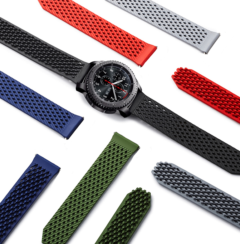 Newest Silicone Rubber Watch Band Strap watchbands for Samsung Gear S3 Classic Frontier 22mm Wrist Strap Bracelet 2016 silicone rubber watch band for samsung galaxy gear s2 sm r720 replacement smartwatch bands strap bracelet with patterns