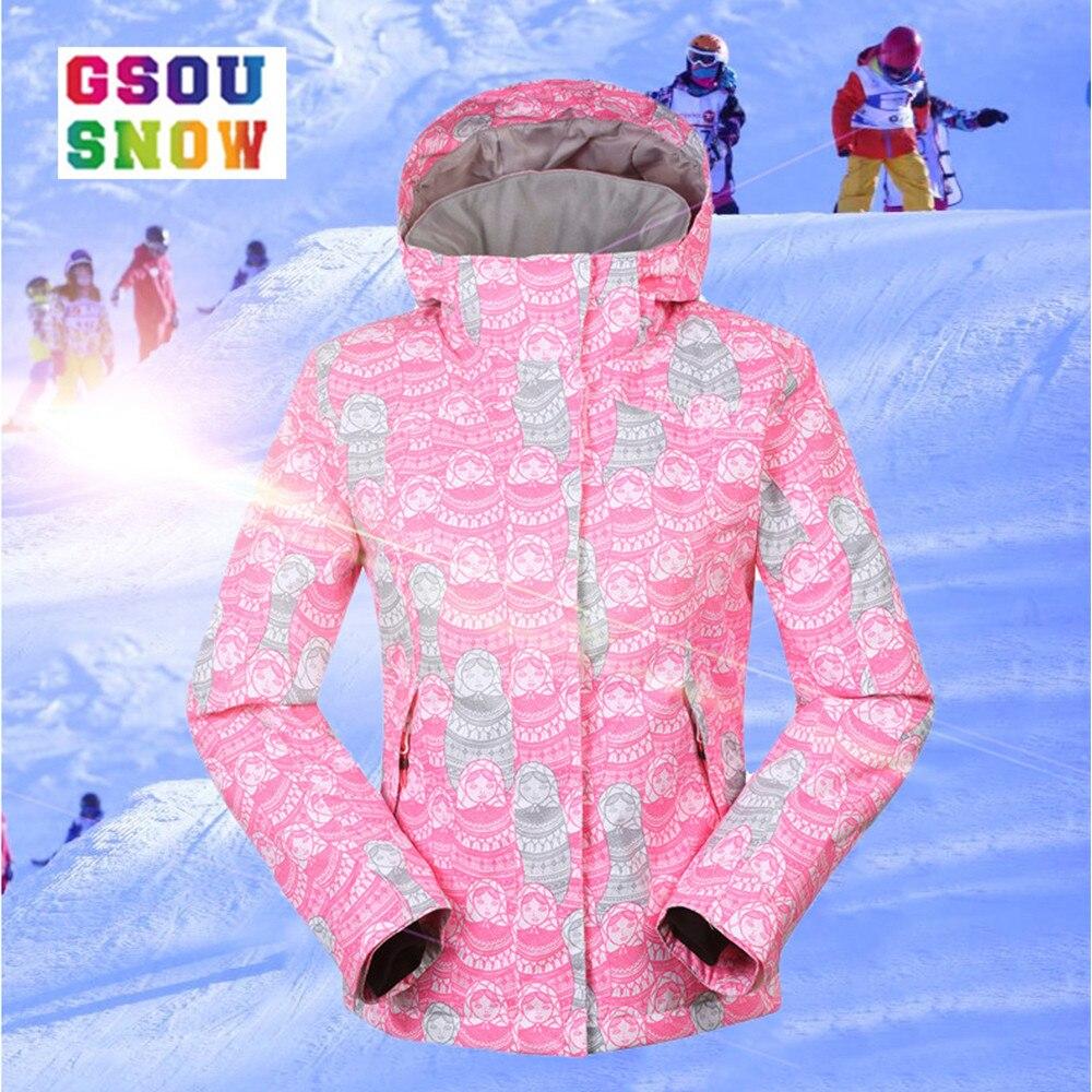 Gsou Snow Winter Ski jacket For Girls Kids Waterproof Warm Snowboarding Ski Jacket Snowboard Outdoor Skiing Snow Wear цена