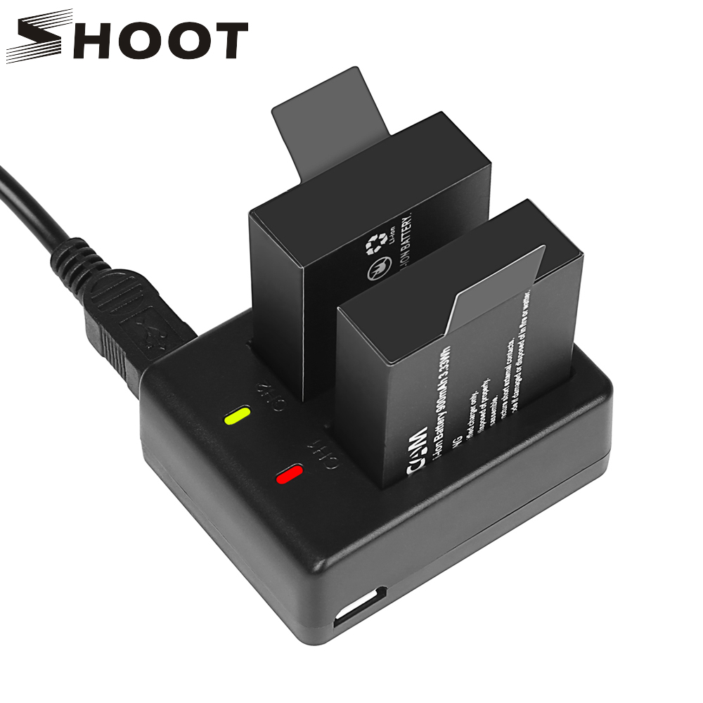 SHOOT Dual Port Battery Charger With 2pcs 900mAh Battery For Sjcam Sj4000 Sj5000 M10 Eken H9 H9R Sj 4000 Action Camera Accessory